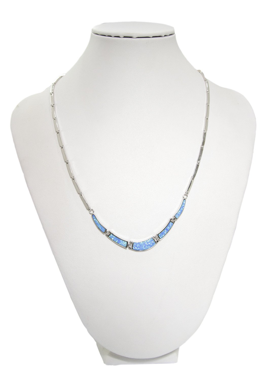 Blue opal silver necklace