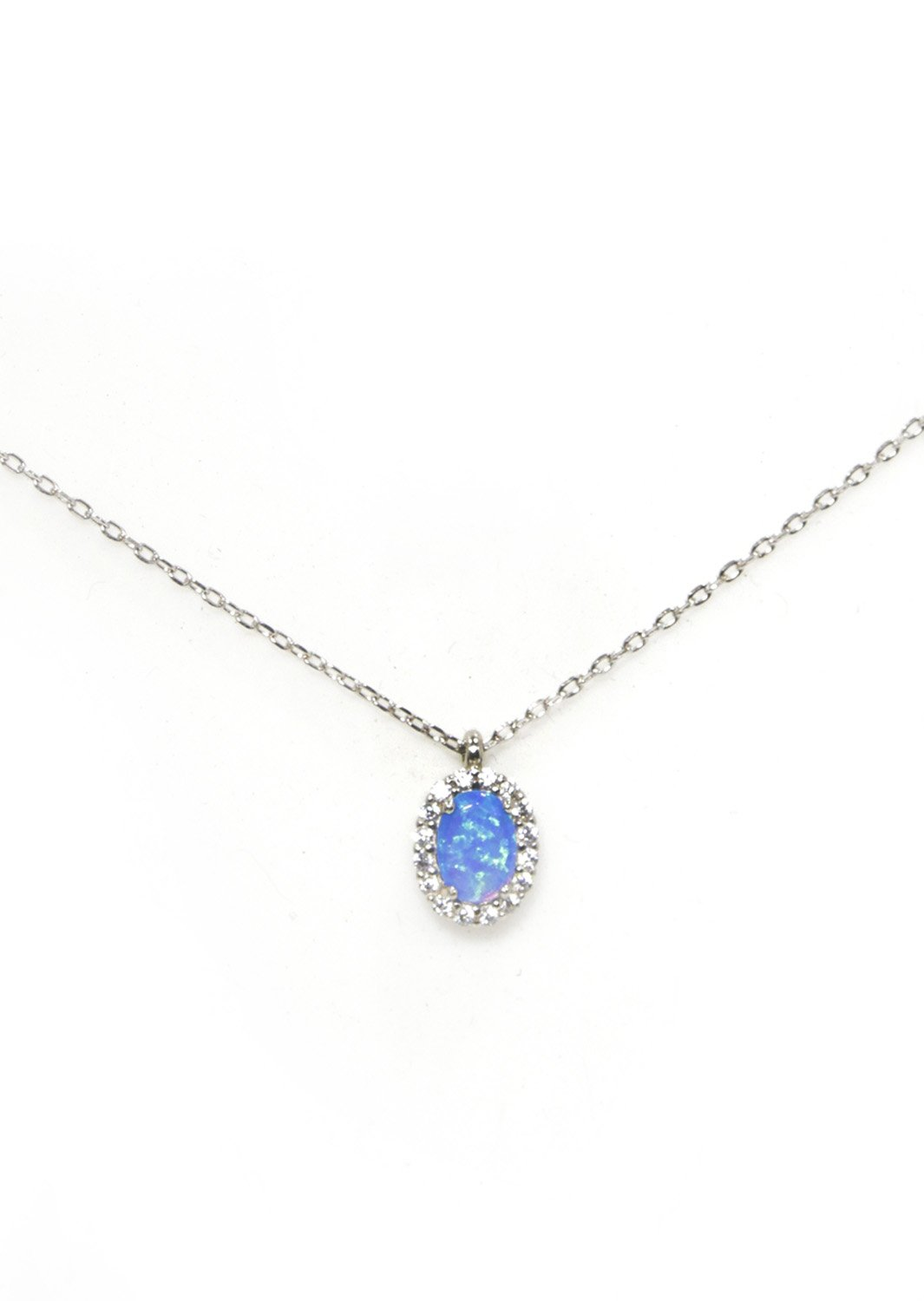 Opal pendant silver necklace with zircon