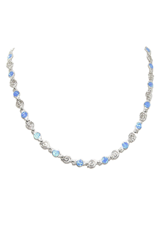 Greek spiral and opal gemstones silver necklace