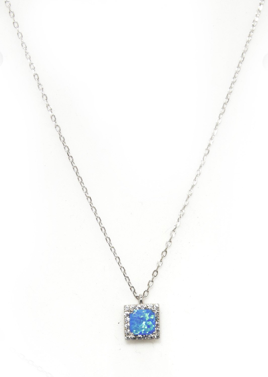 Pendant silver necklace with opal and zircon