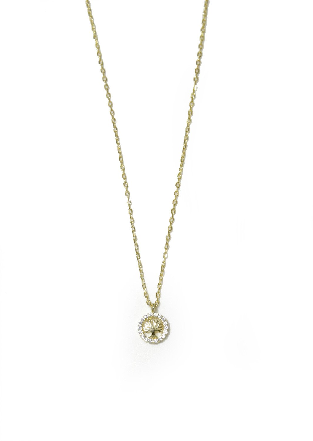 Tree of life gold plated silver necklace with zircon