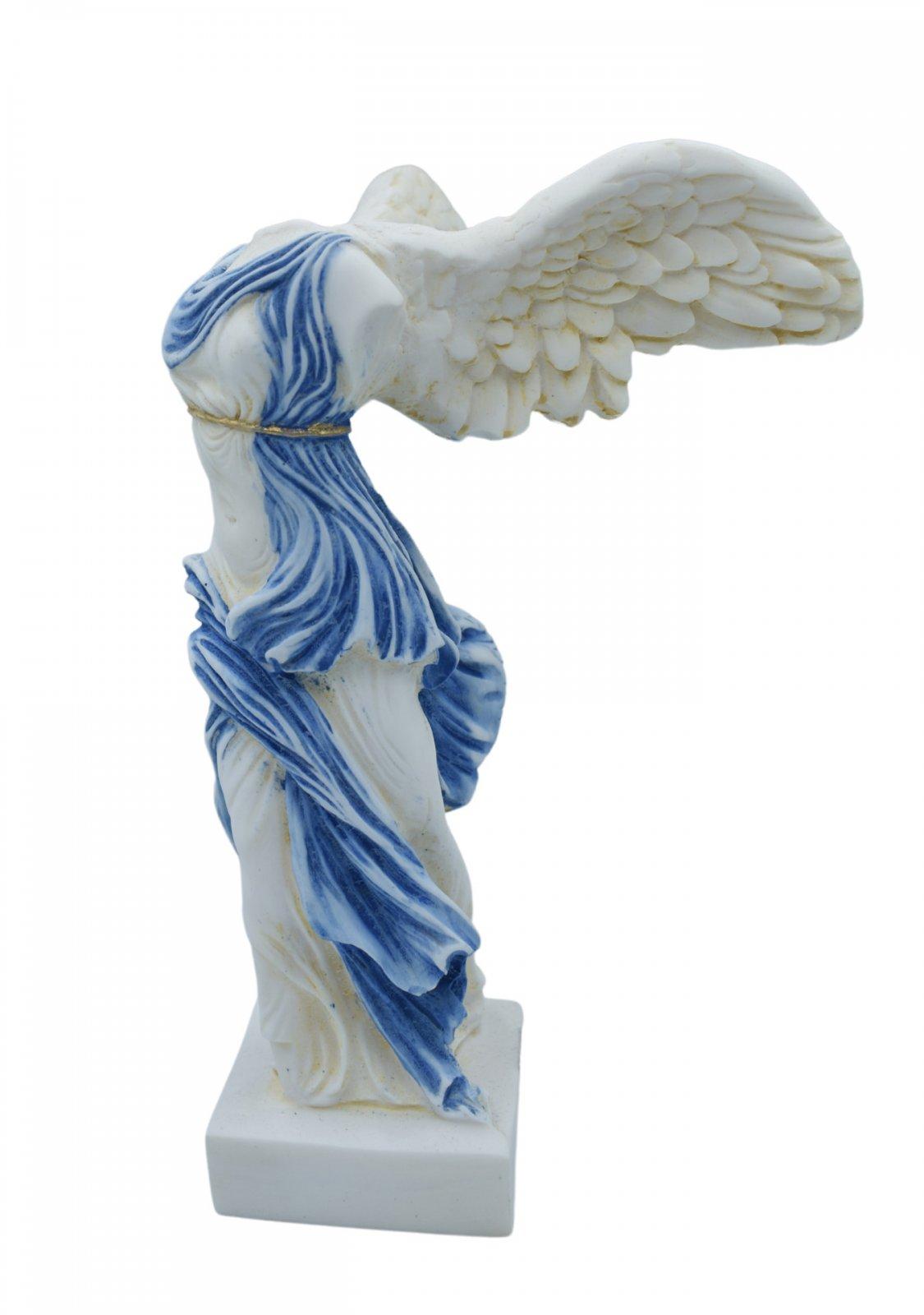 Nike of Samothrace greek alabaster statue with color and golden details
