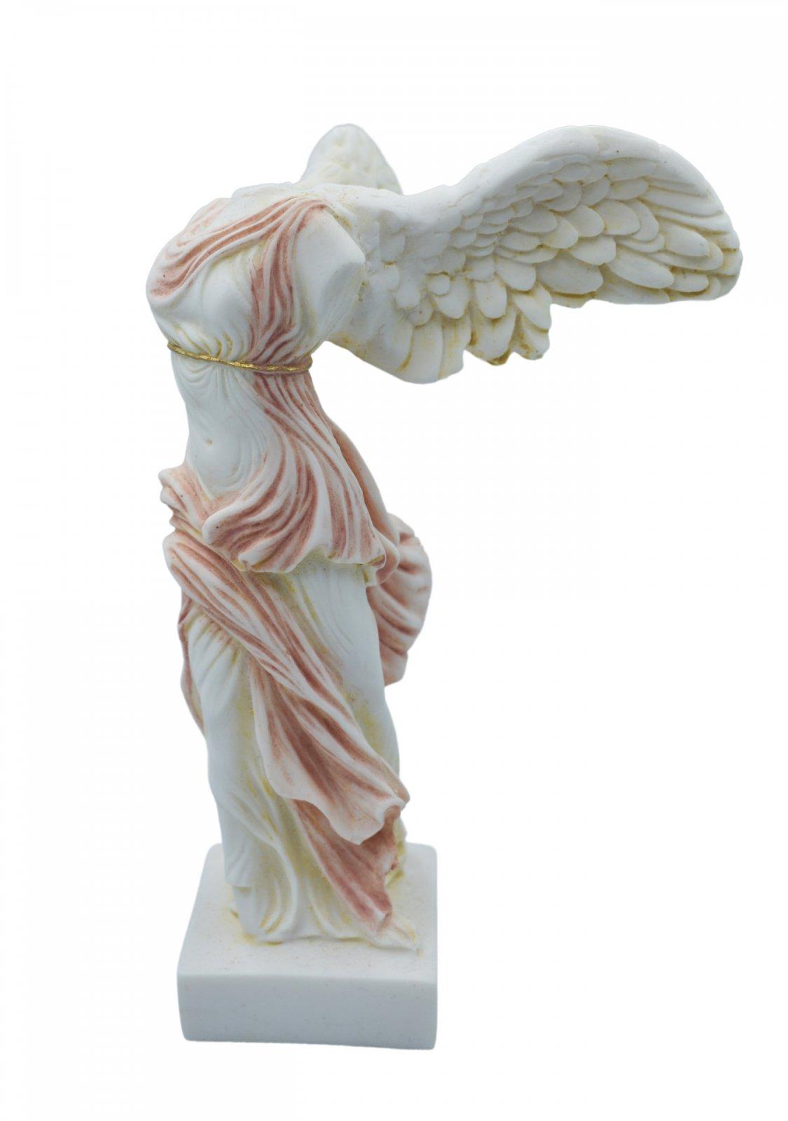 Nike of Samothrace greek alabaster statue with color