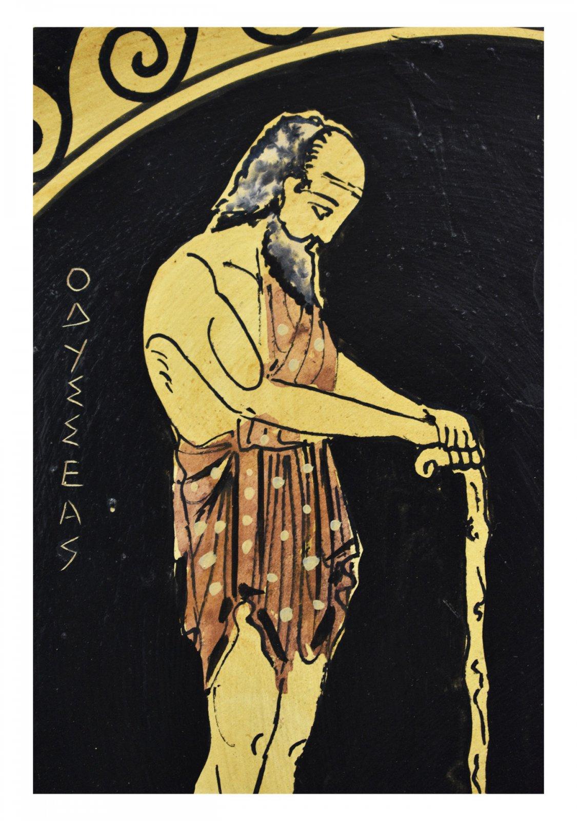 Greek ceramic plate depicting Odysseus with his dog, Argos (24cm)