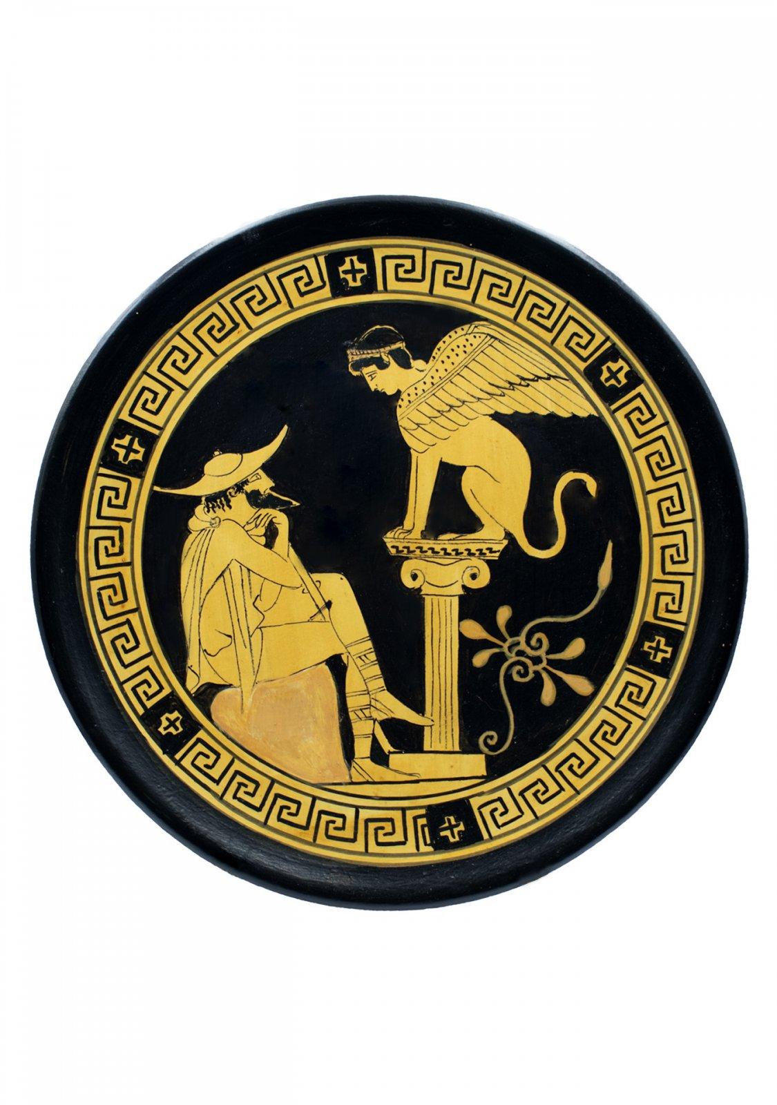 Classical Greek ceramic plate depicting Oedipus and Sphinx