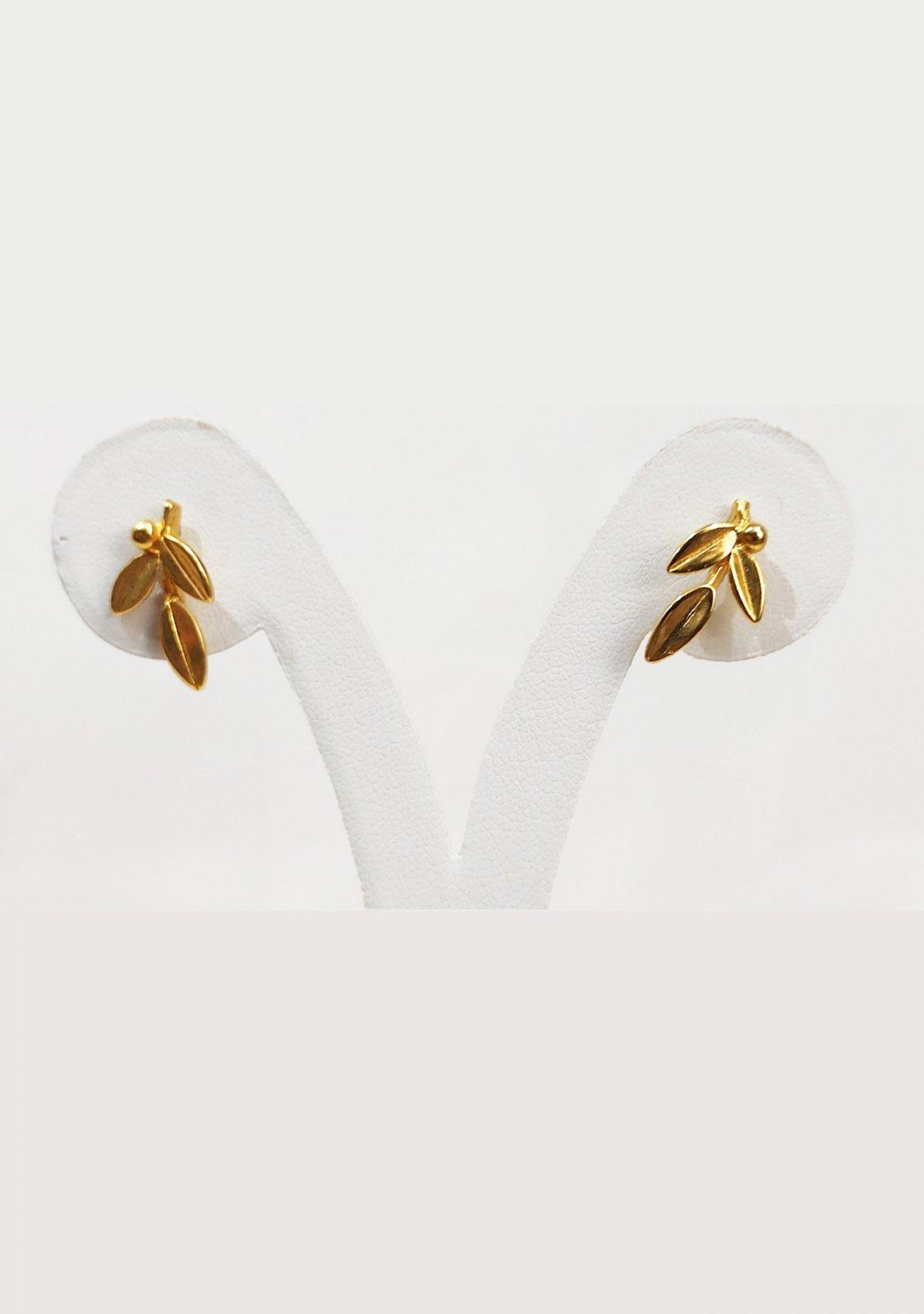 Greek olive branch gold plated silver stud - dangle earrings