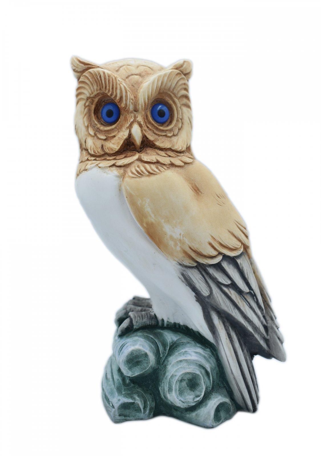 Owl medium alabaster statue with color, the symbol of wisdom