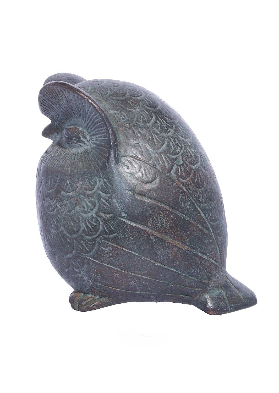 Owl green plaster statue, the symbol of wisdom (No.1)