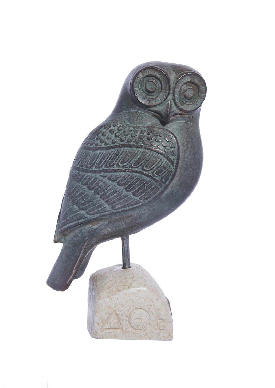 Owl green plaster statue, the symbol of wisdom (No.3)