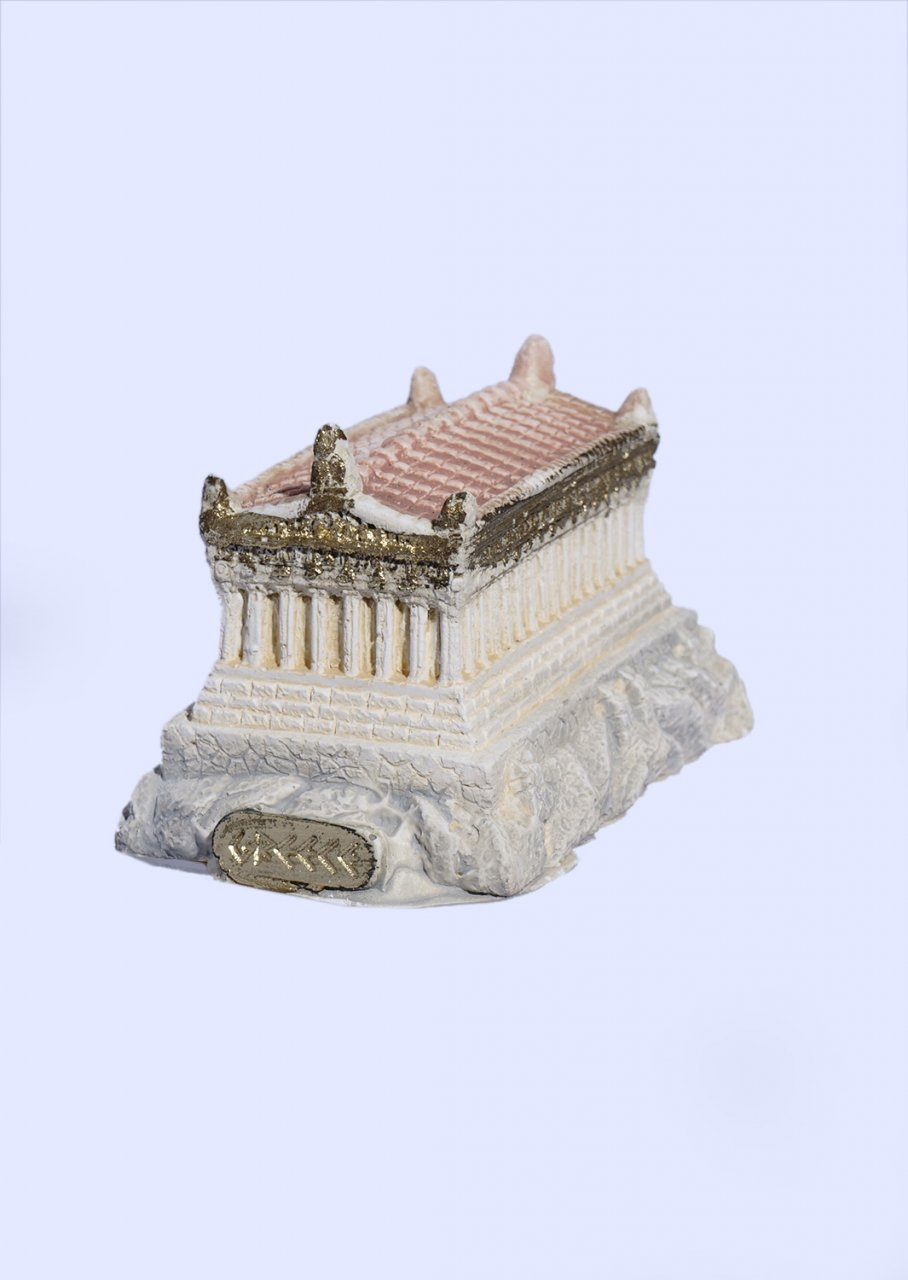 Medium plaster statue of Reconstracted Parthenon of Acropolis with golden details