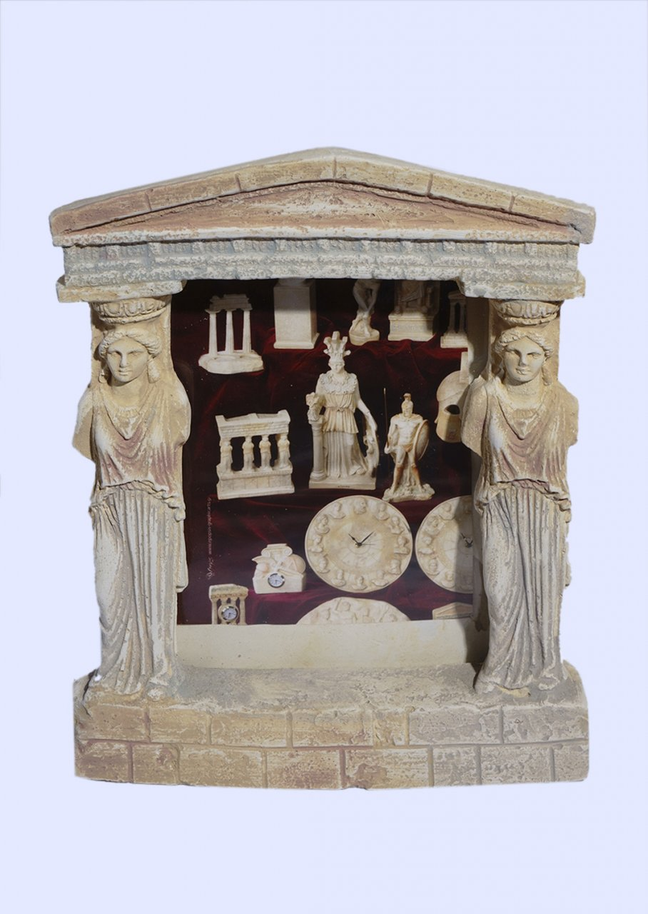 Greek plaster picture frame with Caryatids (Karyatides) and pediment