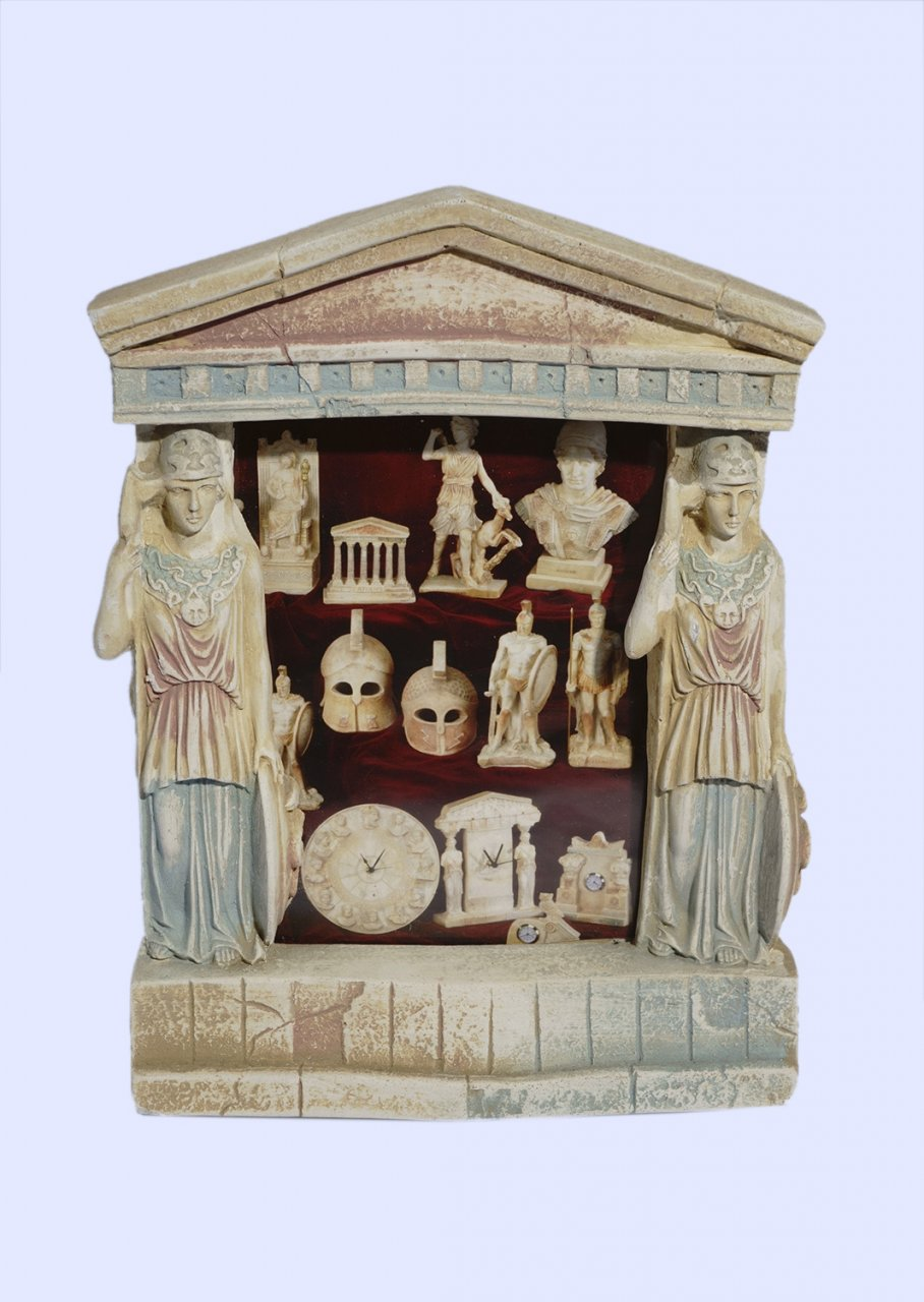 Greek picture frame with Athena goddess of wisdom and a pediment