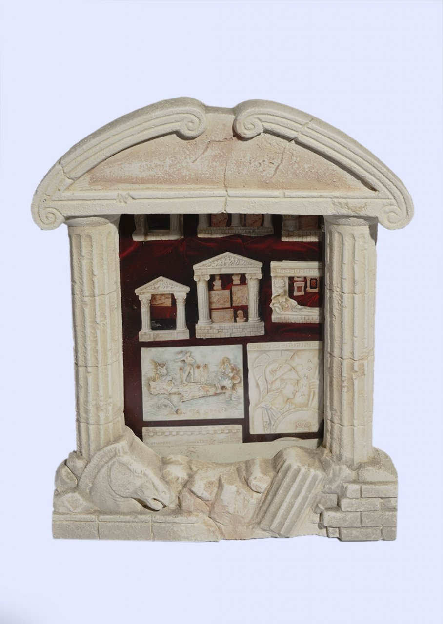 Greek plaster picture frame with Doric columns