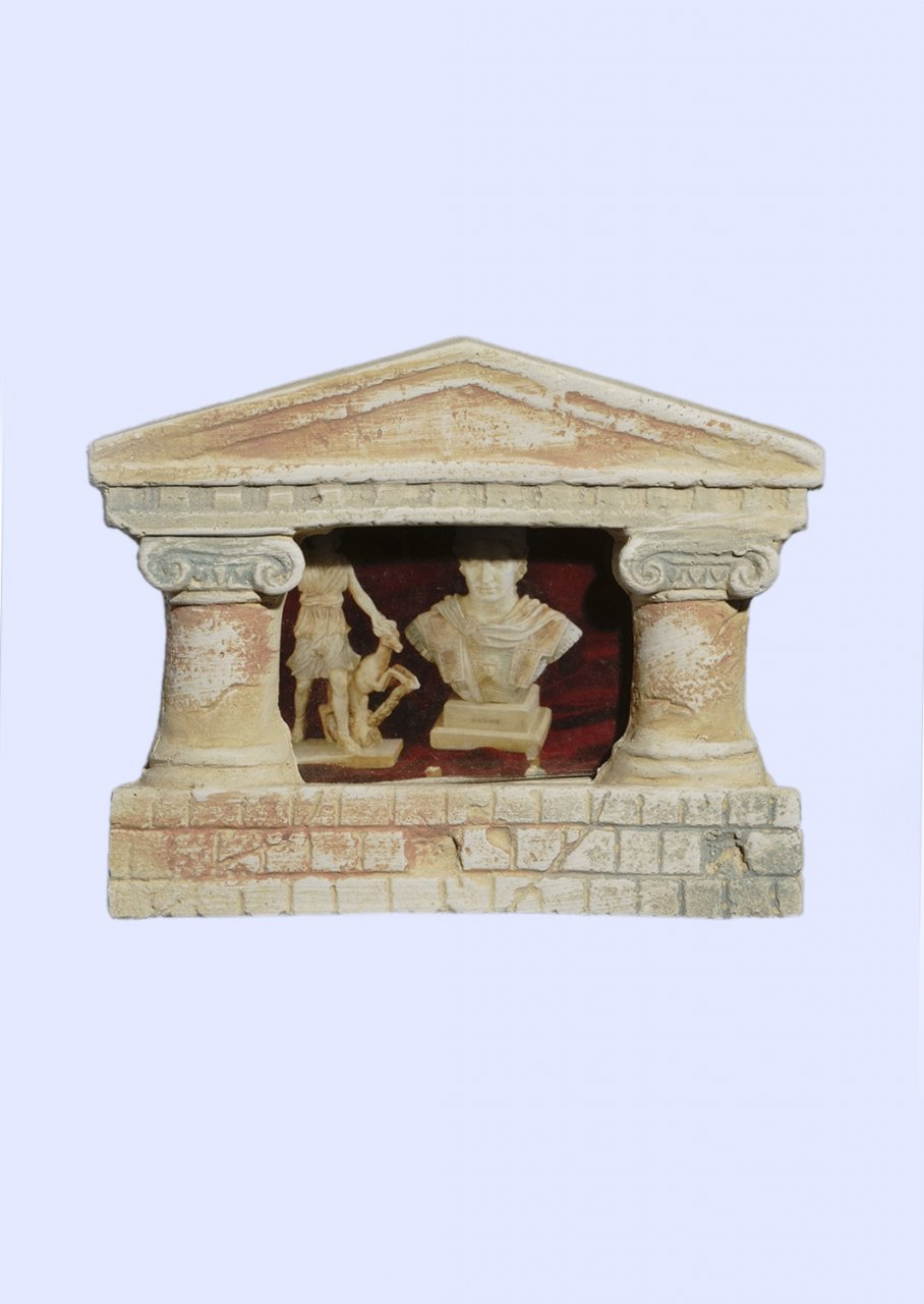 Greek picture frame with Ionic columns and pediment