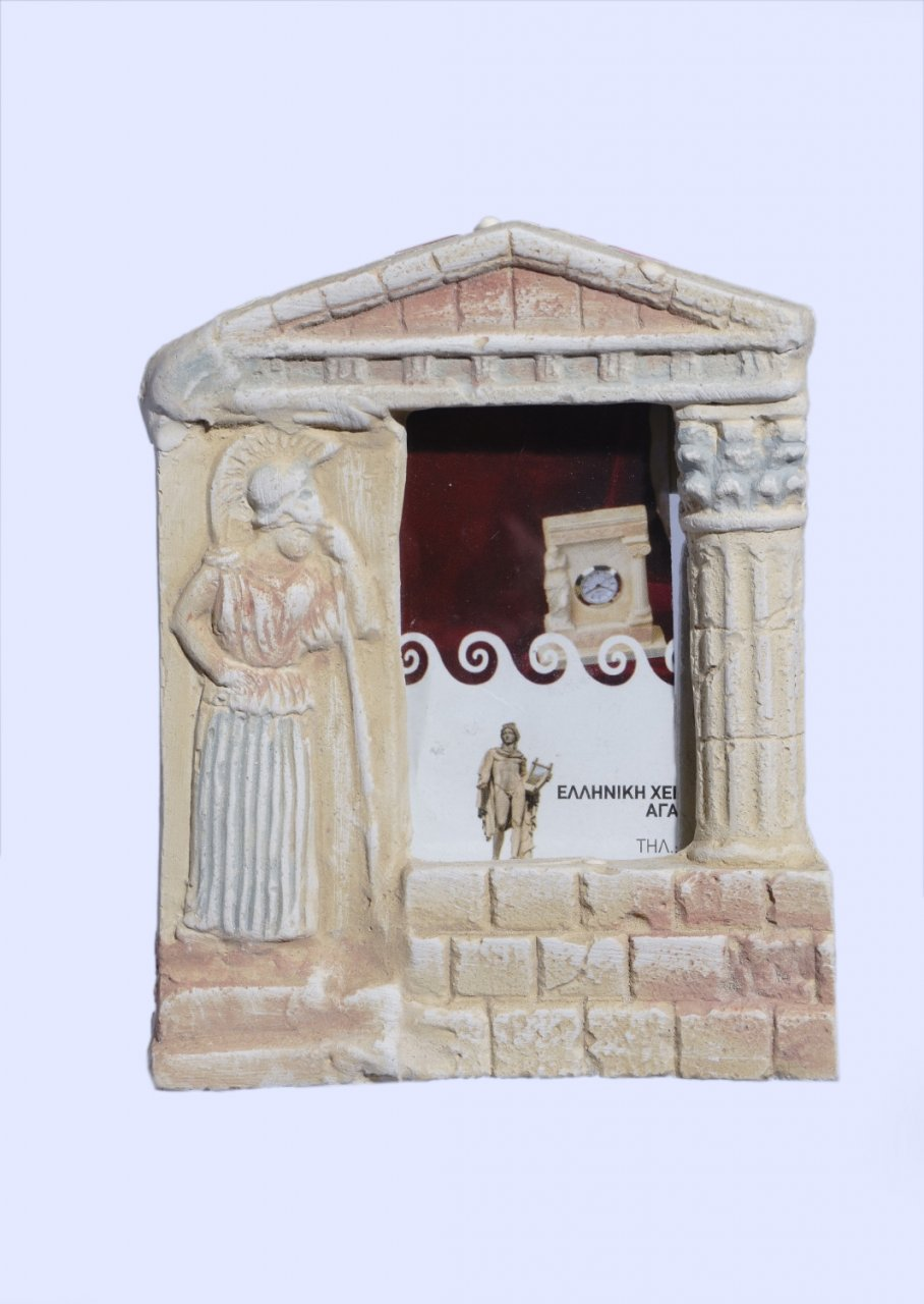 Greek picture frame with mourning Athena and a pediment