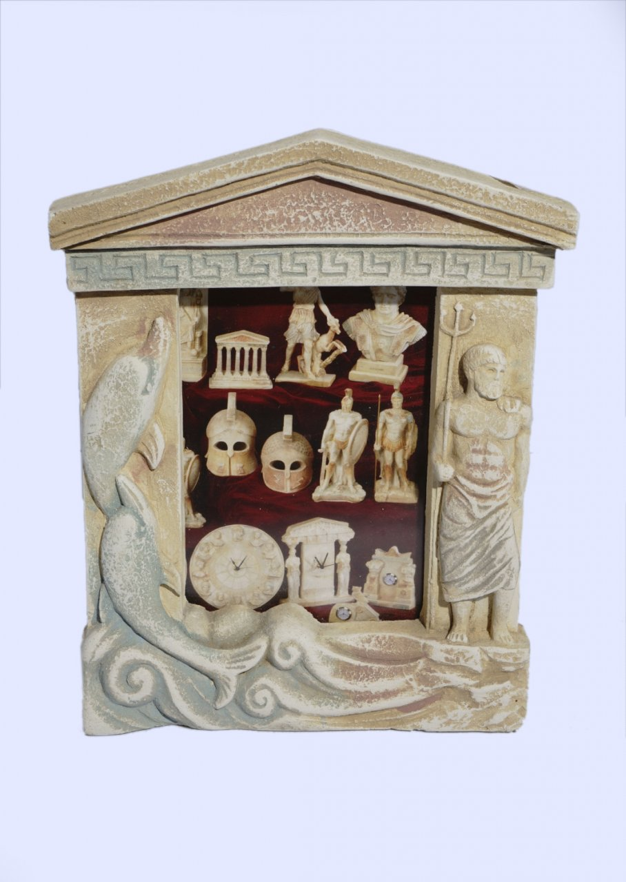 Greek picture frame with the god Poseidon and dolphins