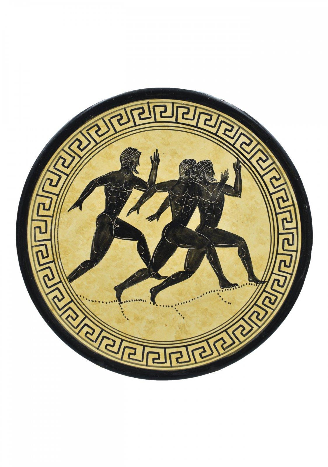 Greek ceramic plate depicting Marathon Runners