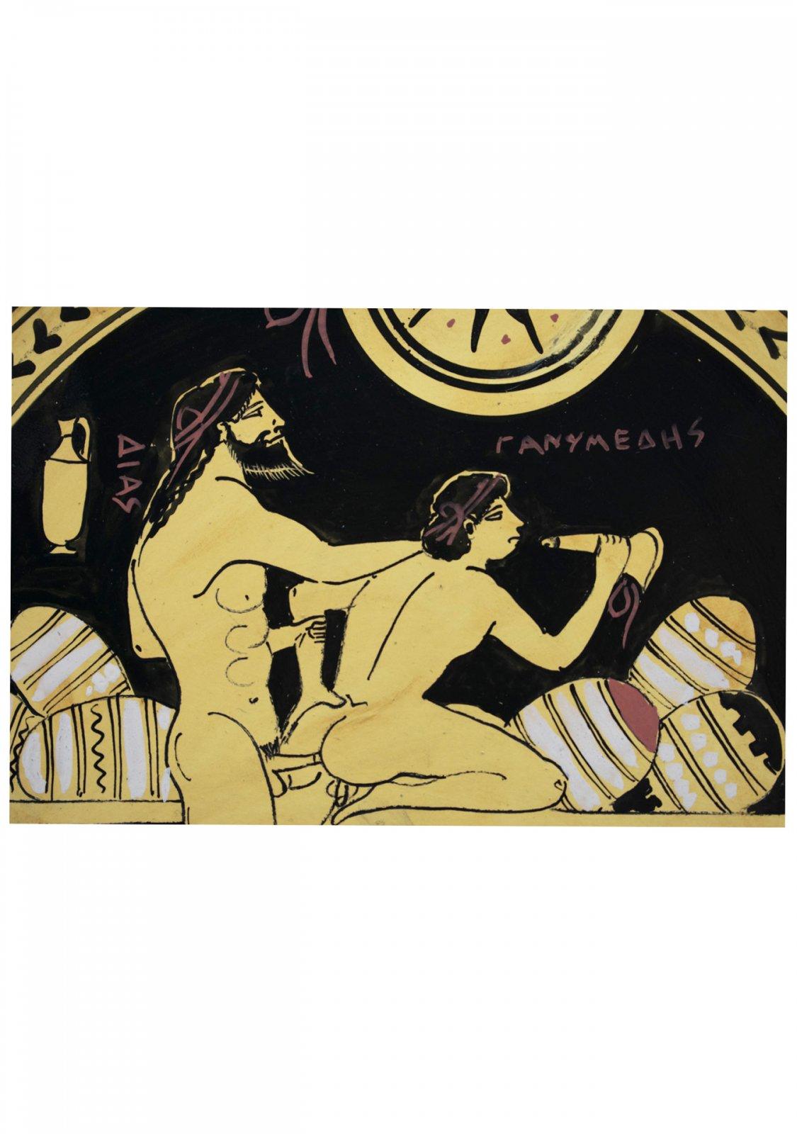 Classical Greek ceramic plate depicting Zeus and Ganymede