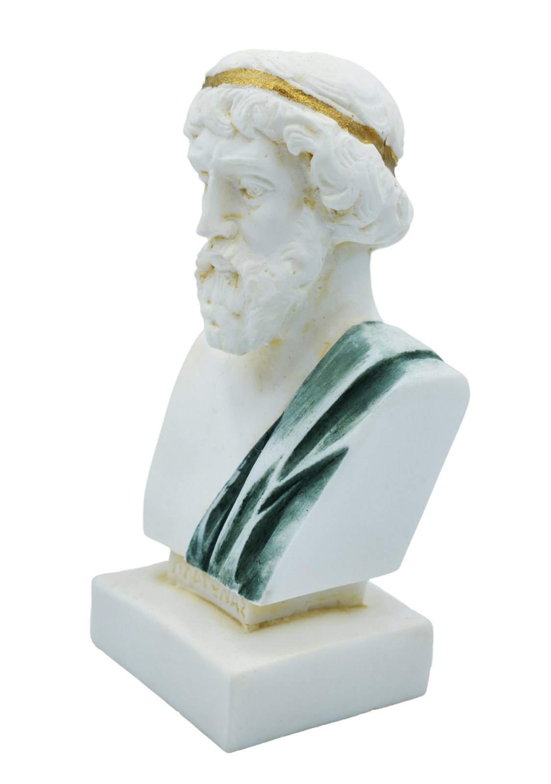 Plato greek alabaster bust statue with color and patina