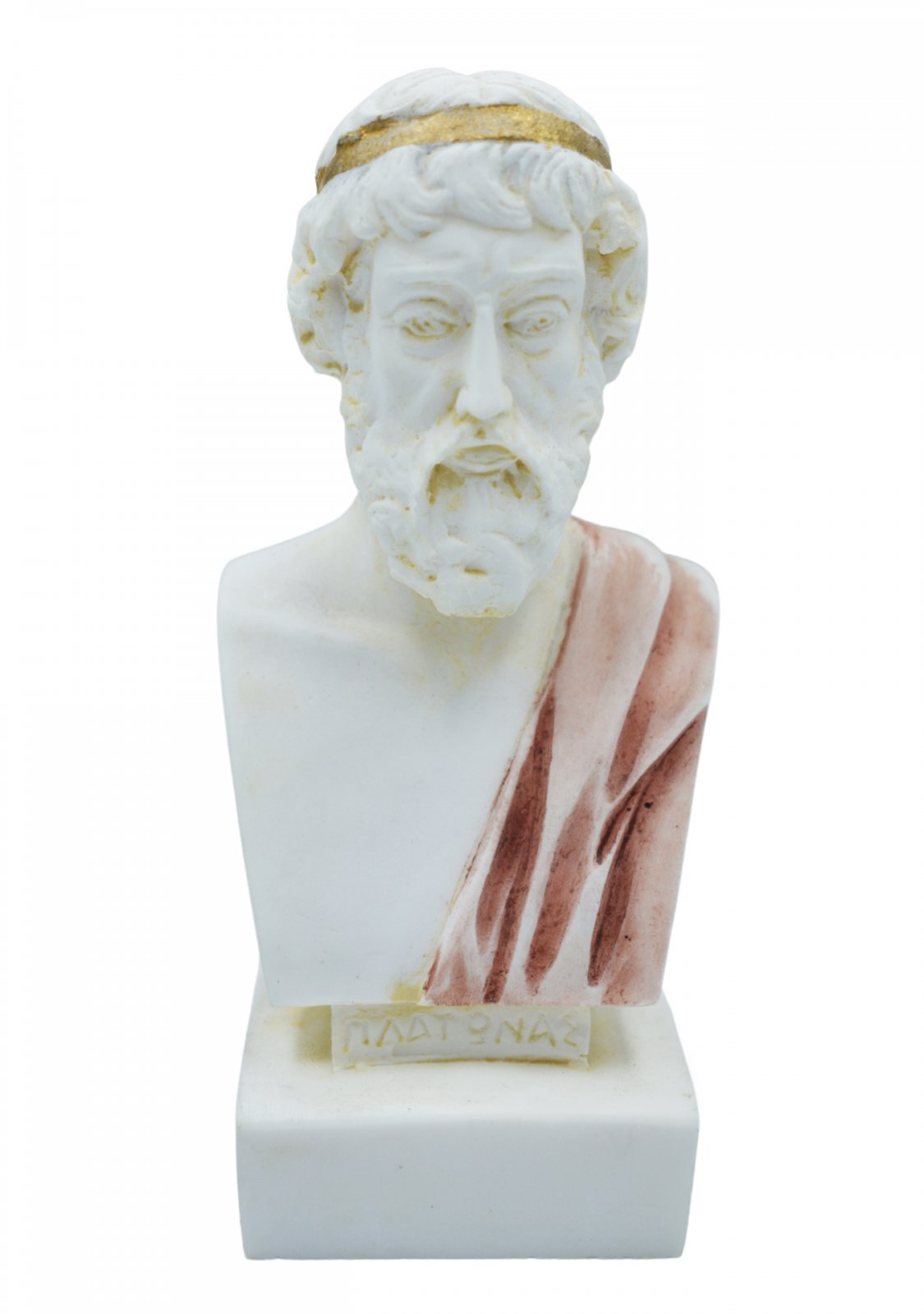 Plato greek alabaster bust statue with color
