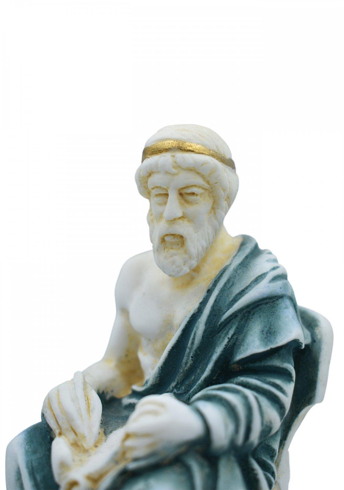 Plato greek alabaster statue with color