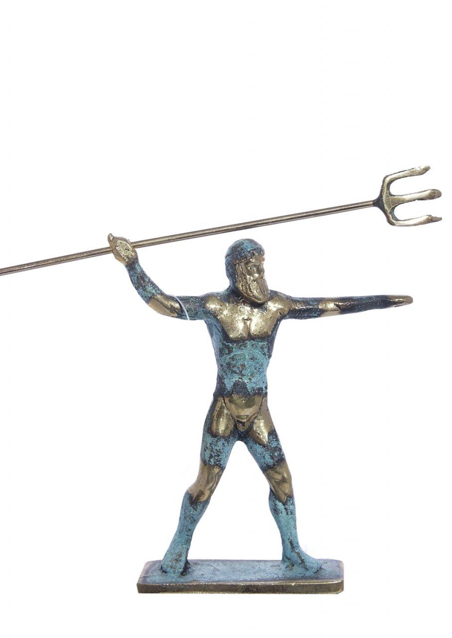 Small bronze statue of Poseidon holding his Trident