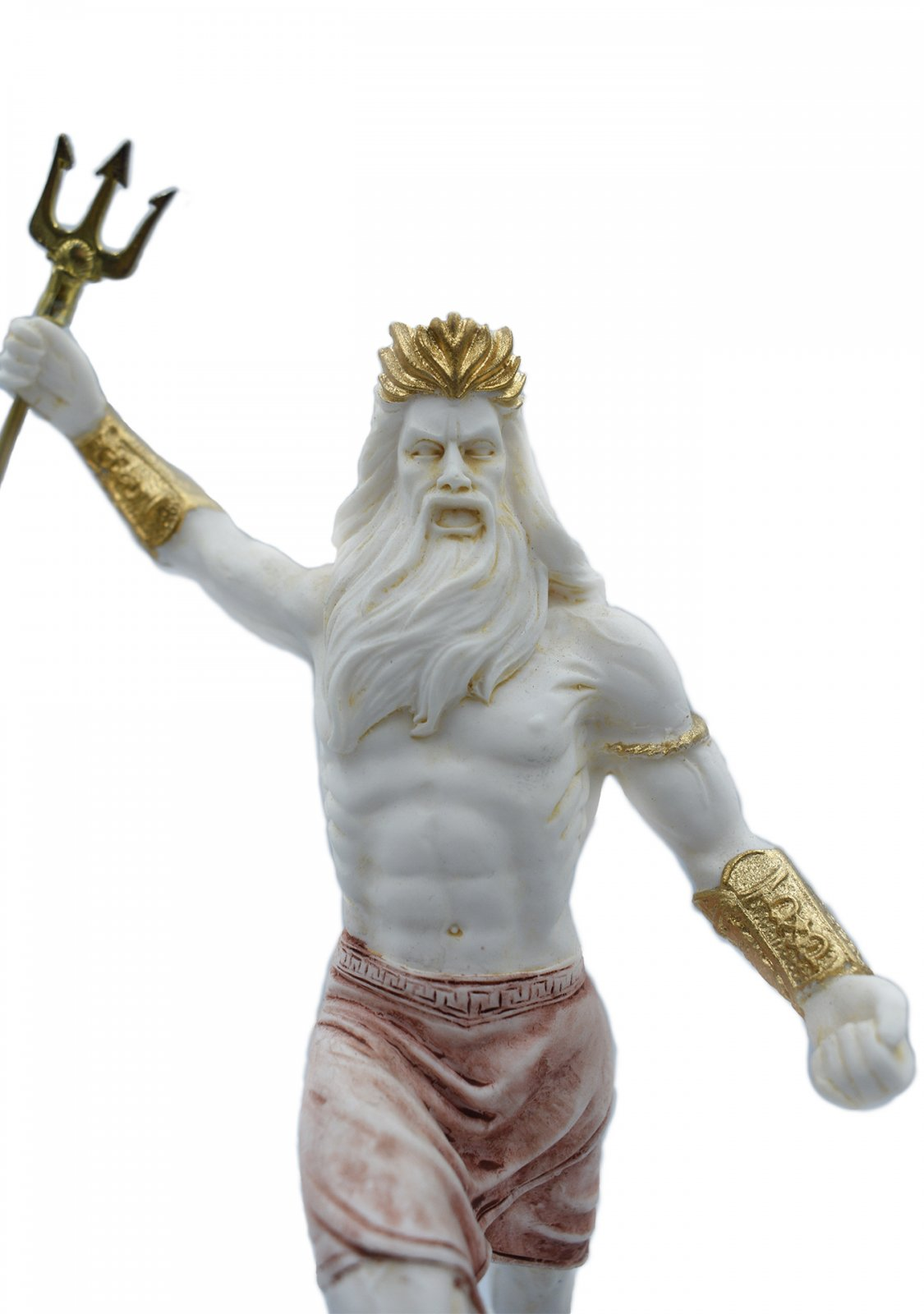 Greek alabaster statue of Poseidon with his trident