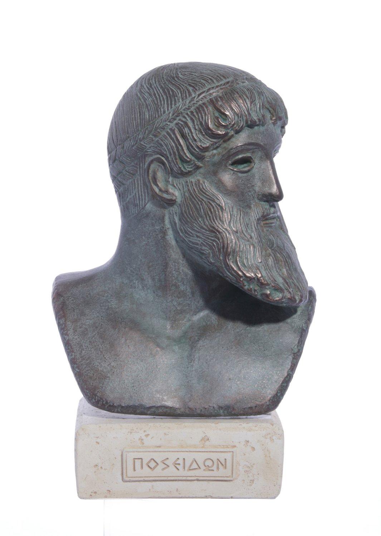 Poseidon green plaster bust sculpture