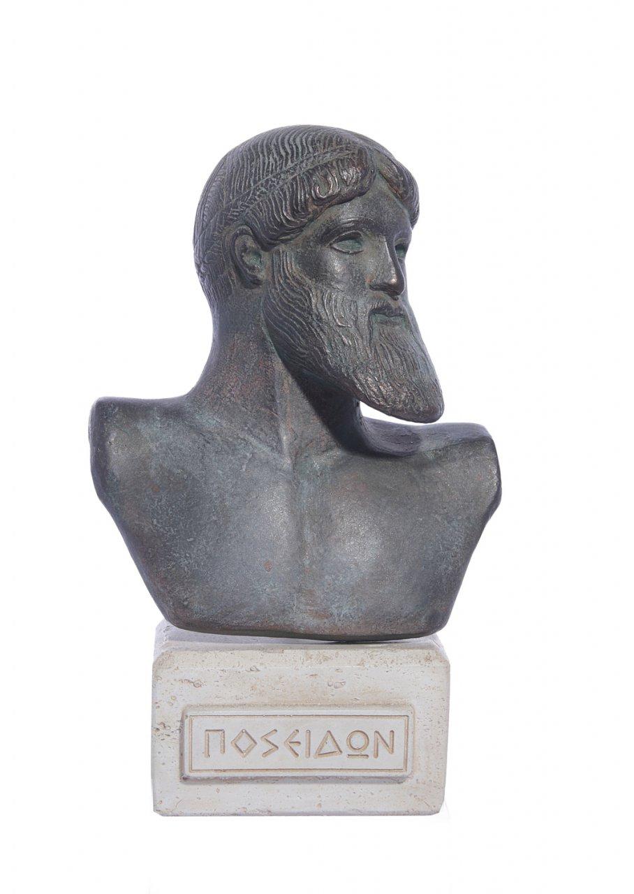 Poseidon green plaster bust statue