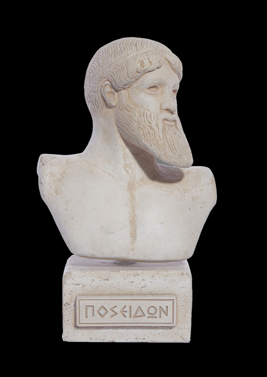 Poseidon greek plaster bust statue