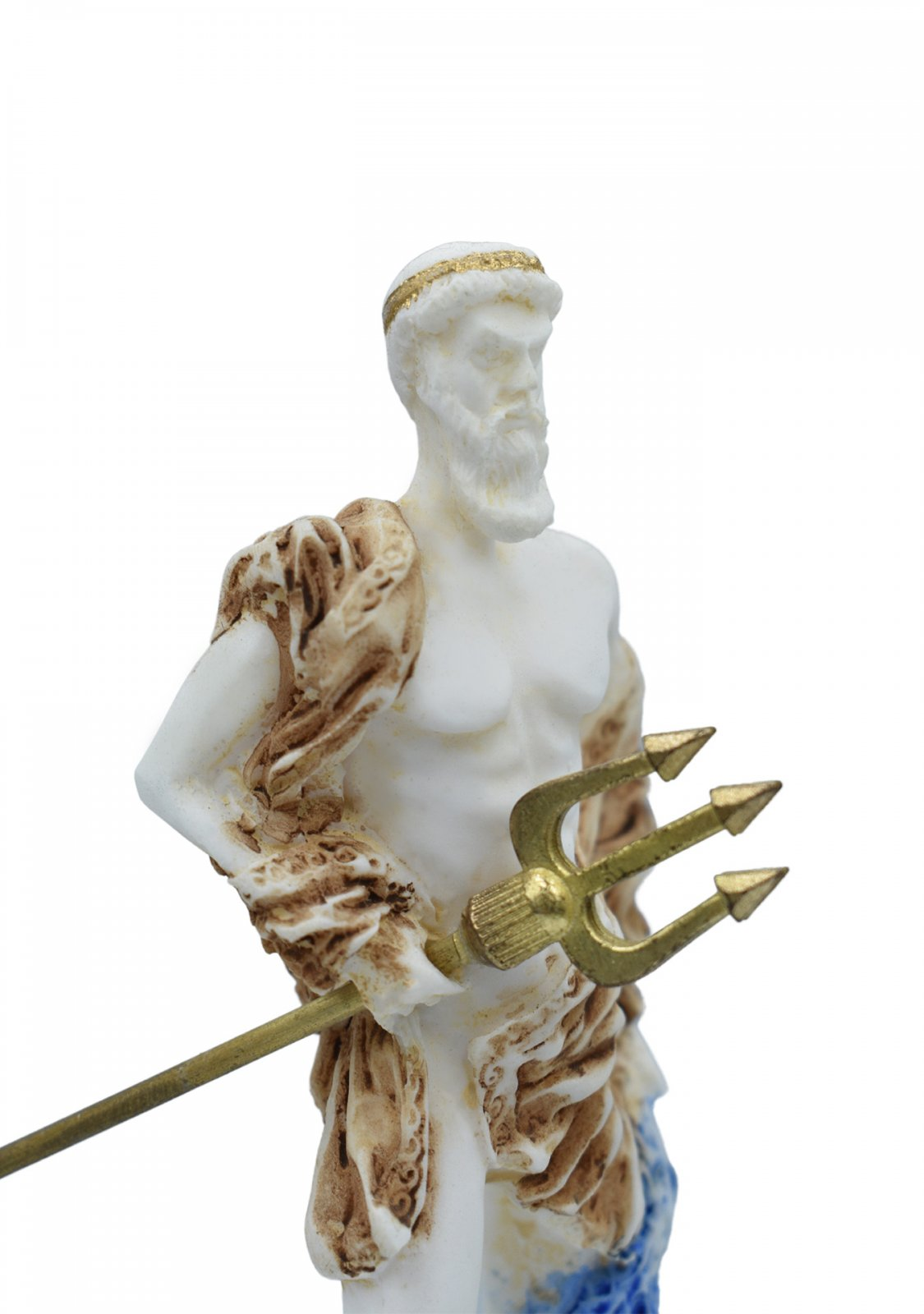 Poseidon, greek alabaster statue with color