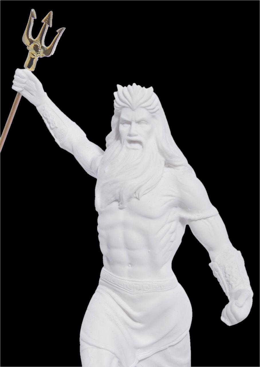 Poseidon with trident greek alabaster statue
