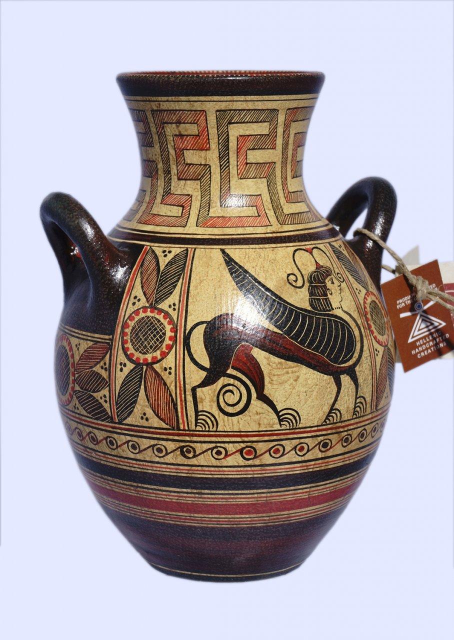 Protogeometric ceramic amphora with Griffin Guardian