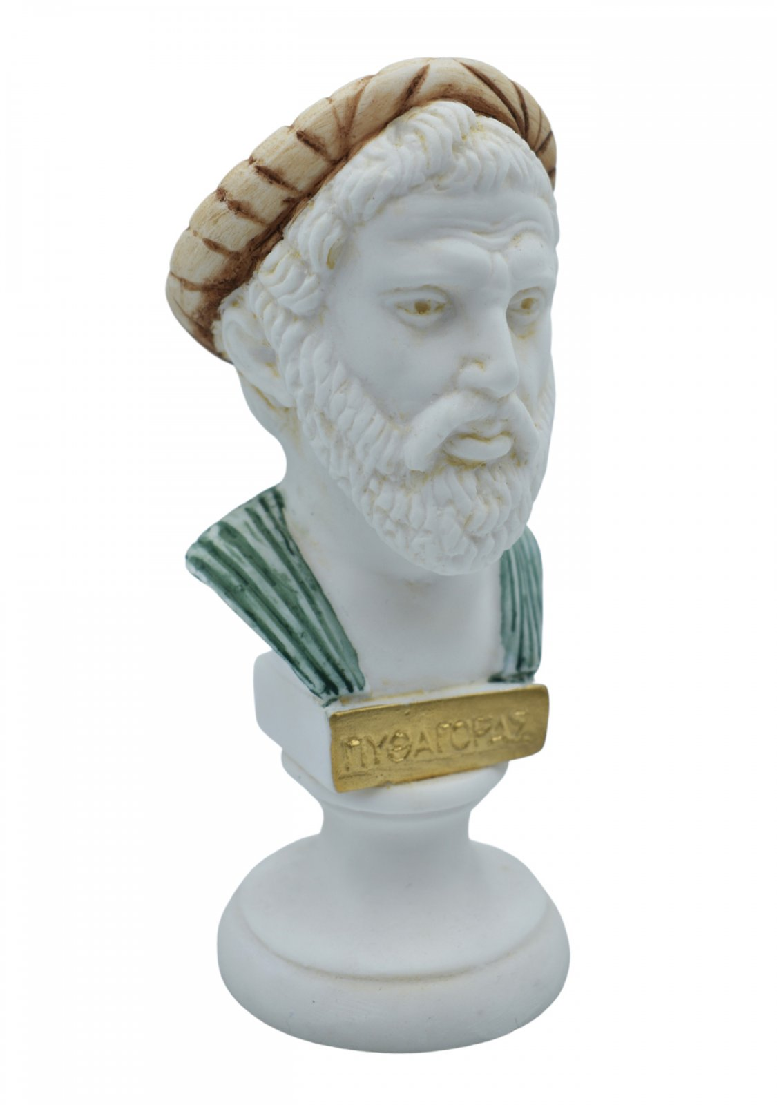 Pythagoras alabaster bust statue with color