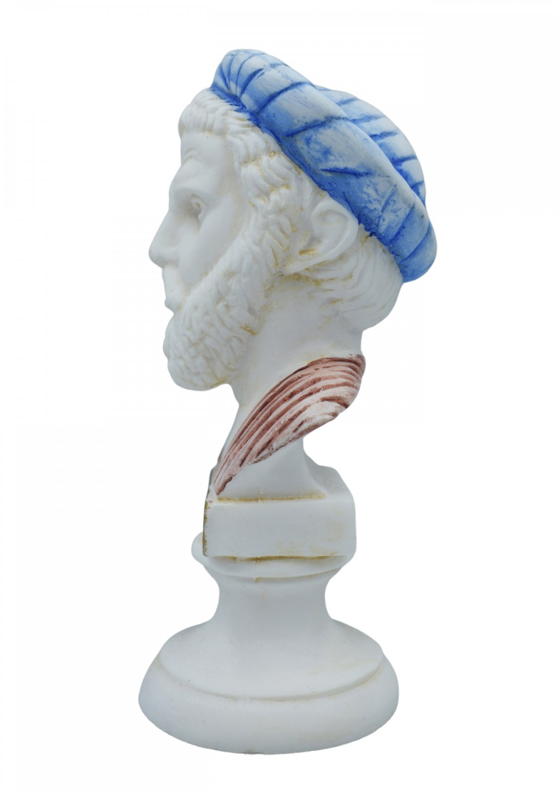 Pythagoras alabaster bust statue with color and patina