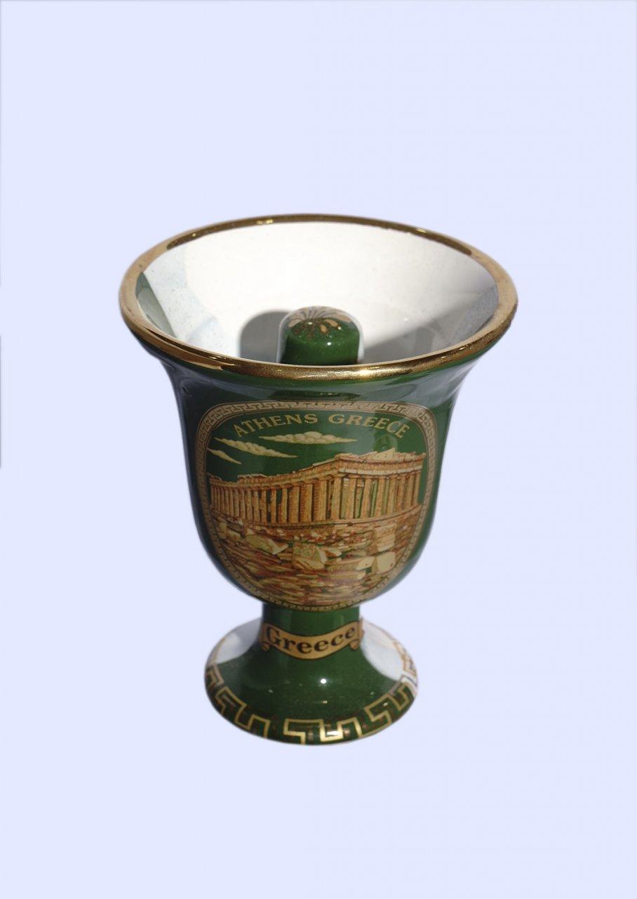 Pythagoras porcelain cup with Acropolis 24Kt gold
