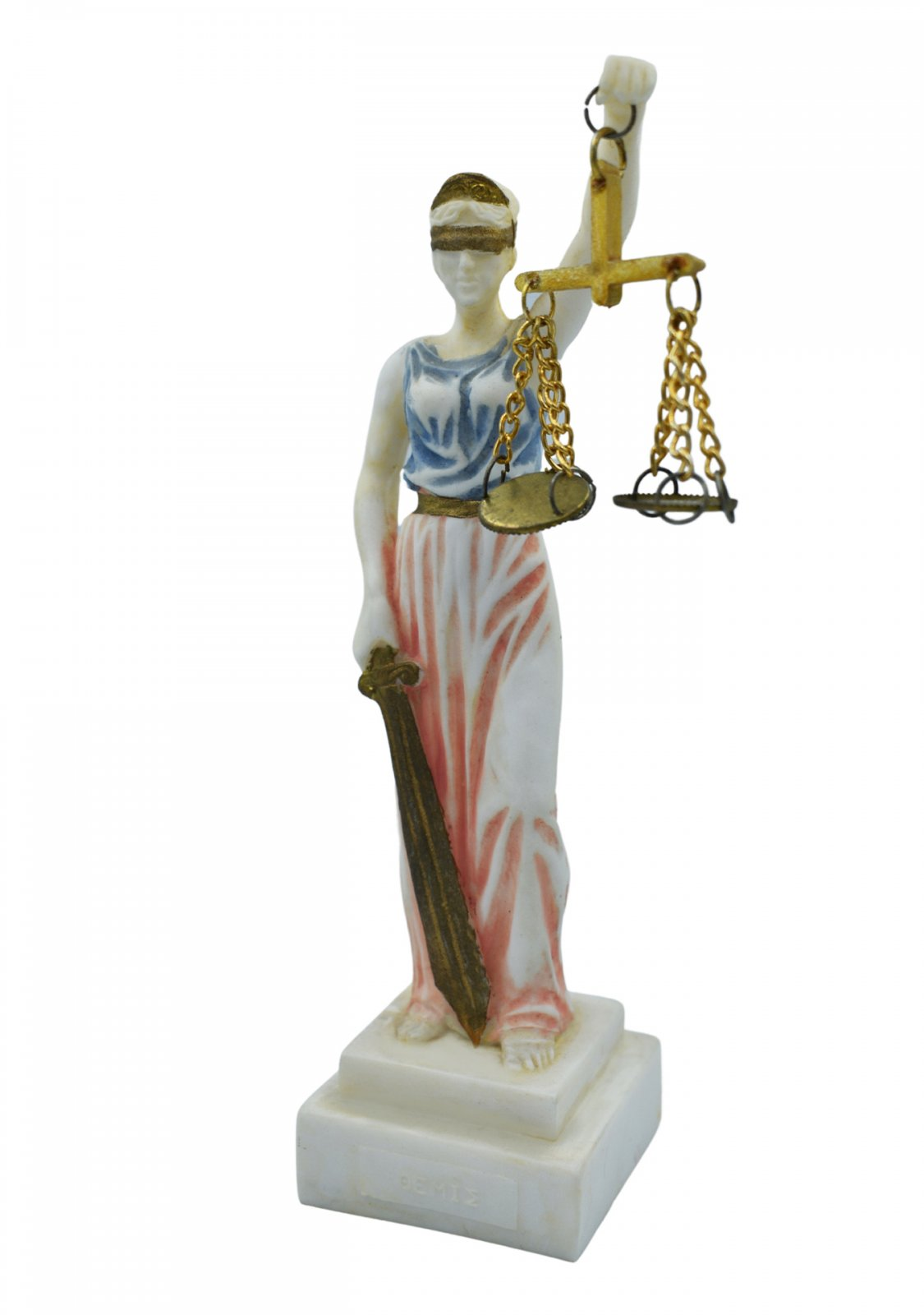 Themis, the greek goddess of justice, small alabaster statue