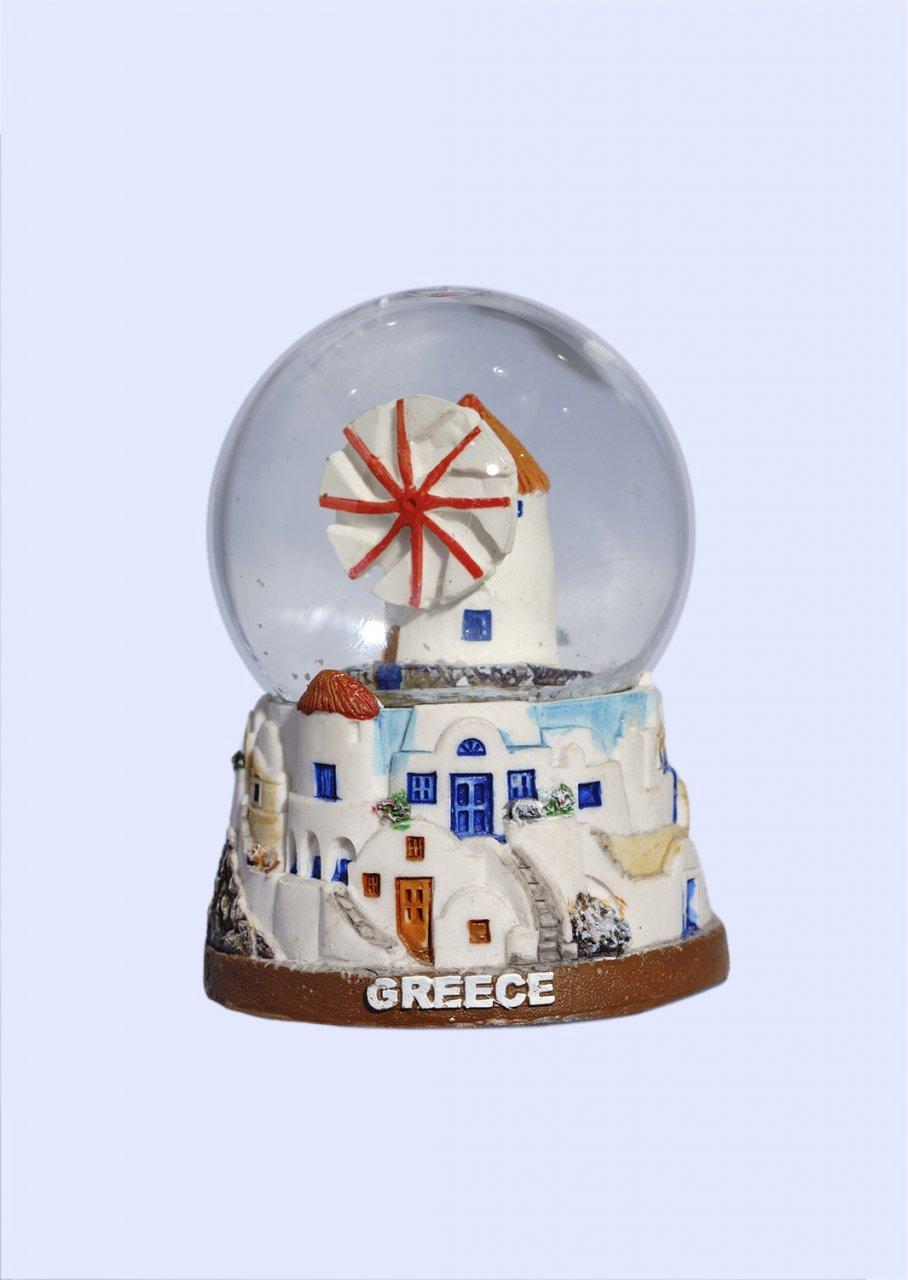 Small Mykonos Snowglobe - Brown base