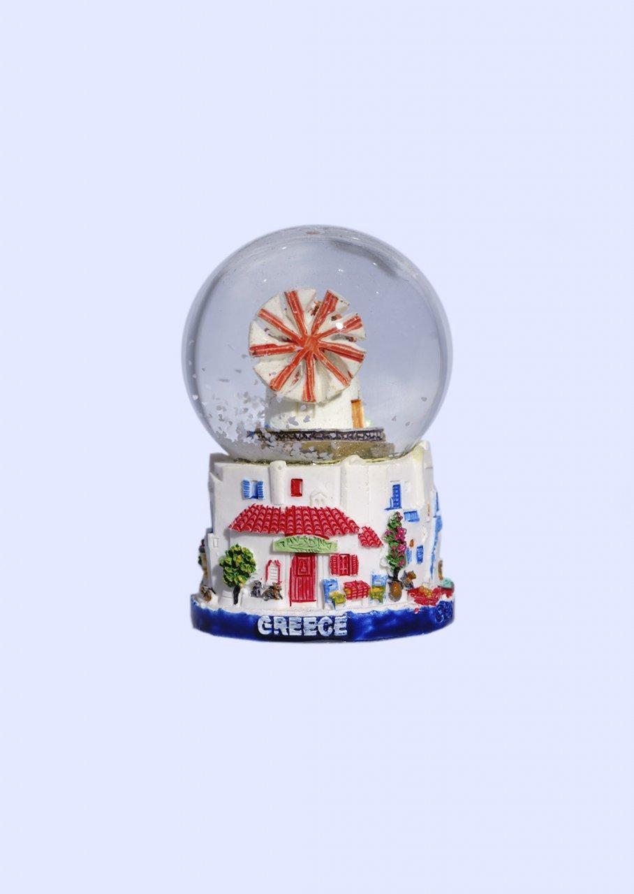 Small Mykonos Snowglobe - Blue base