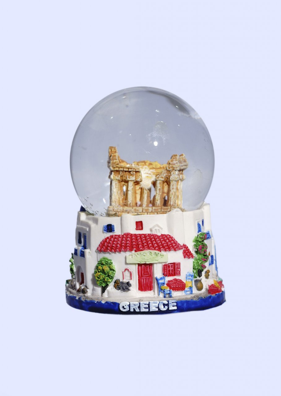 Small Parthenon Snowglobe - Base of traditional greek houses