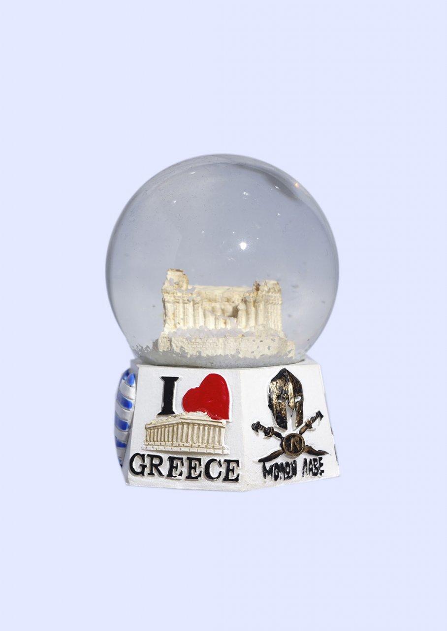 Parthenon Acropolis Snowglobe - Polygonal base with iconic greek elements