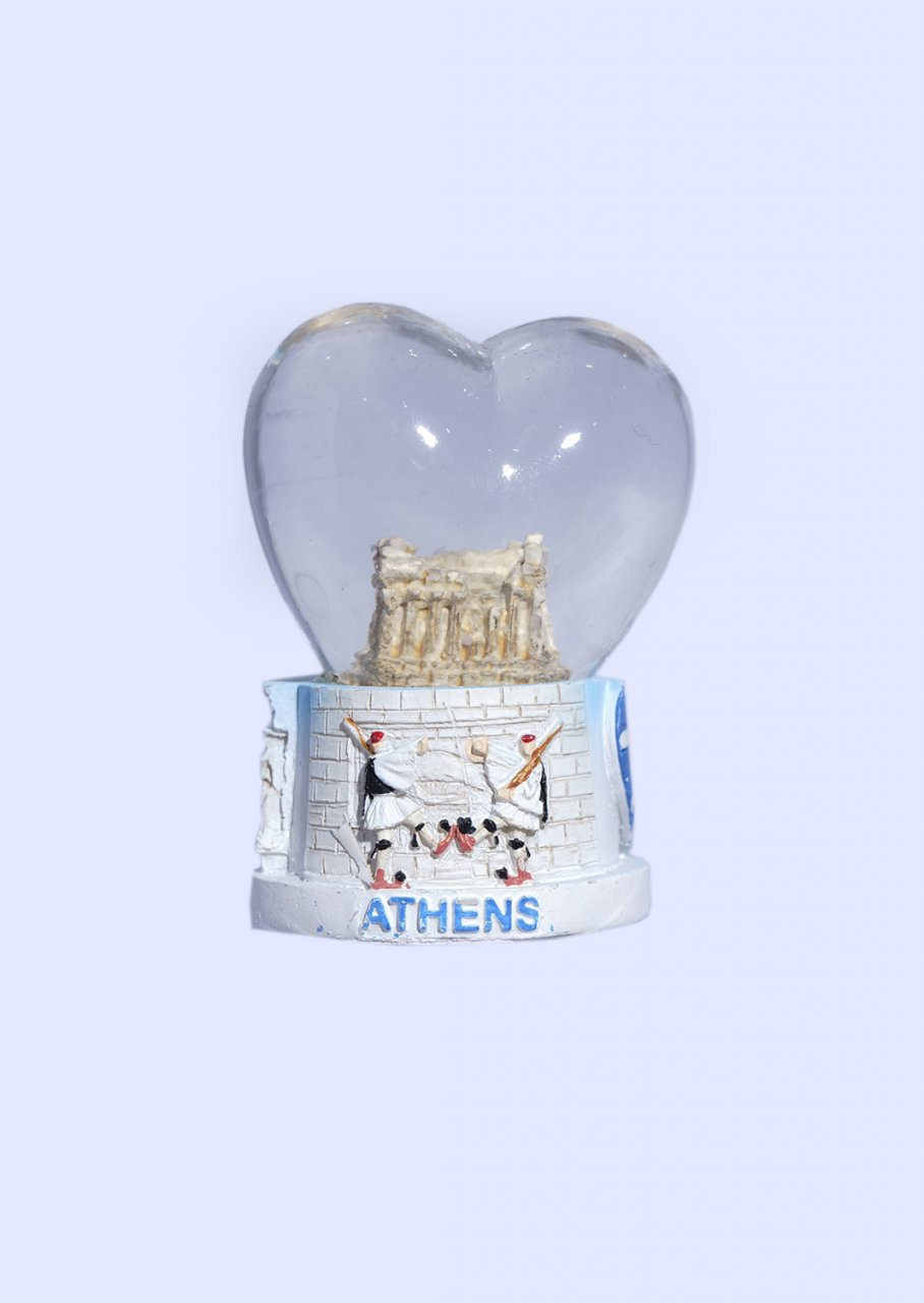 Parthenon Acropolis Heartshaped Snowglobe - Base with iconic greek elements