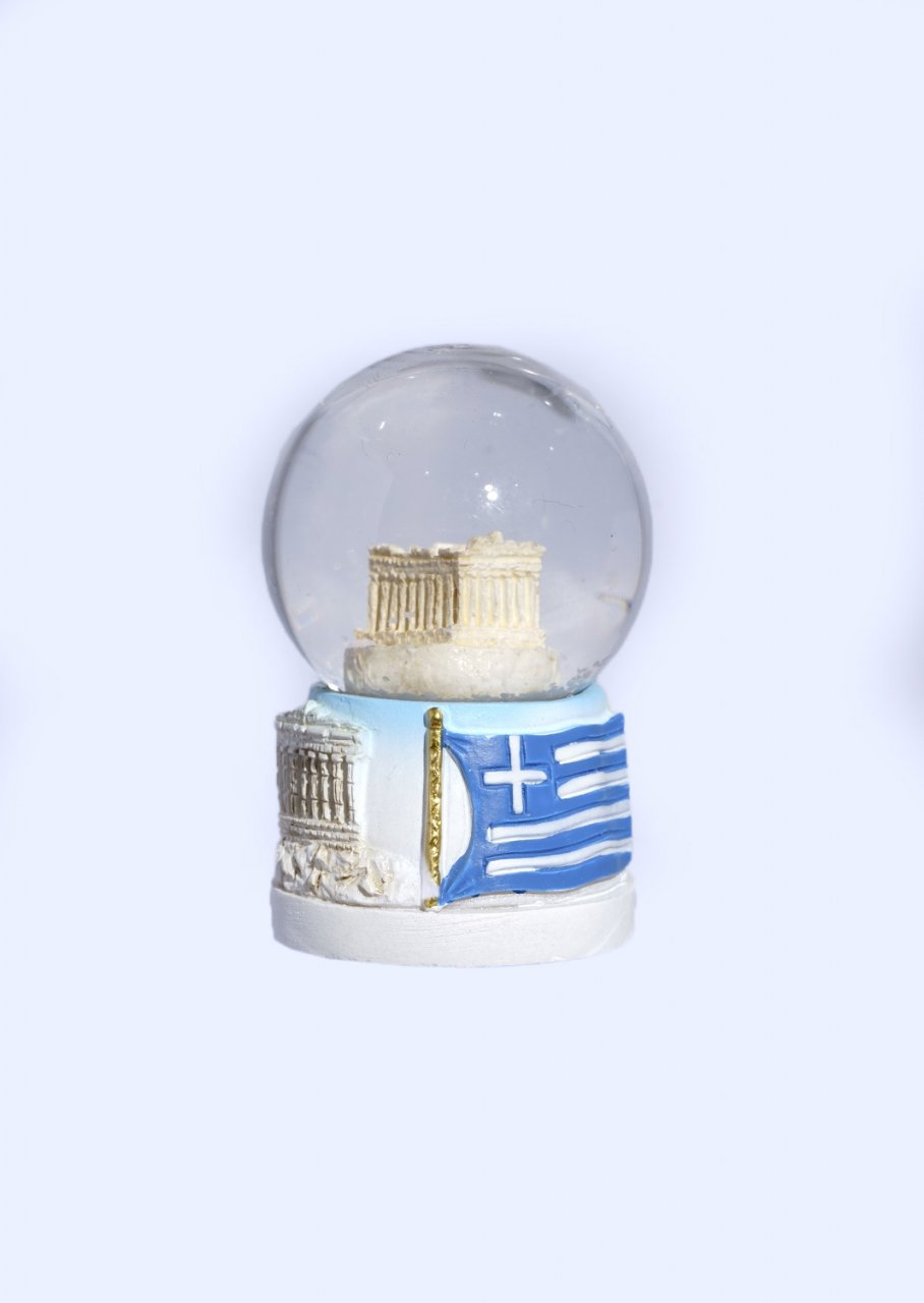 Small Parthenon Acropolis Snowglobe - Base with iconic greek elements