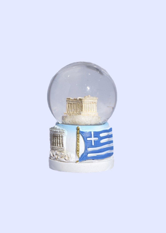 Small Parthenon Acropolis Snowglobe - Base with iconic greek elements