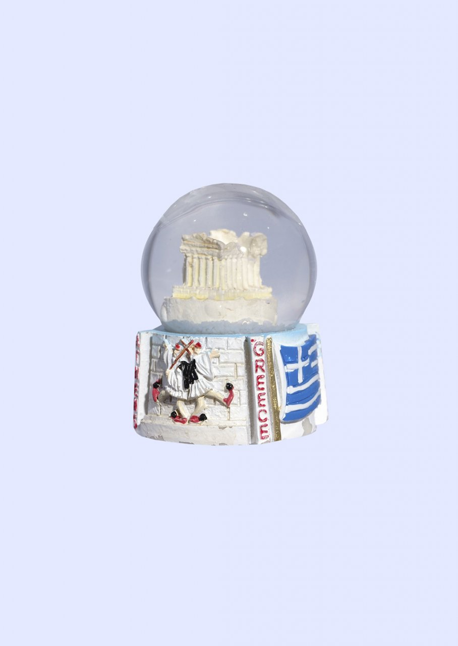 Parthenon Acropolis Snowglobe - Base with iconic greek elements (Tsoliades and the greek national flag)