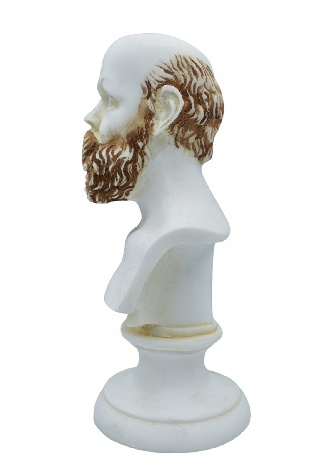 Socrates greek alabaster bust statue with color