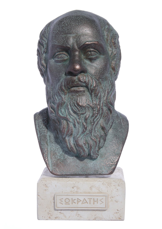 Socrates green greek plaster bust statue