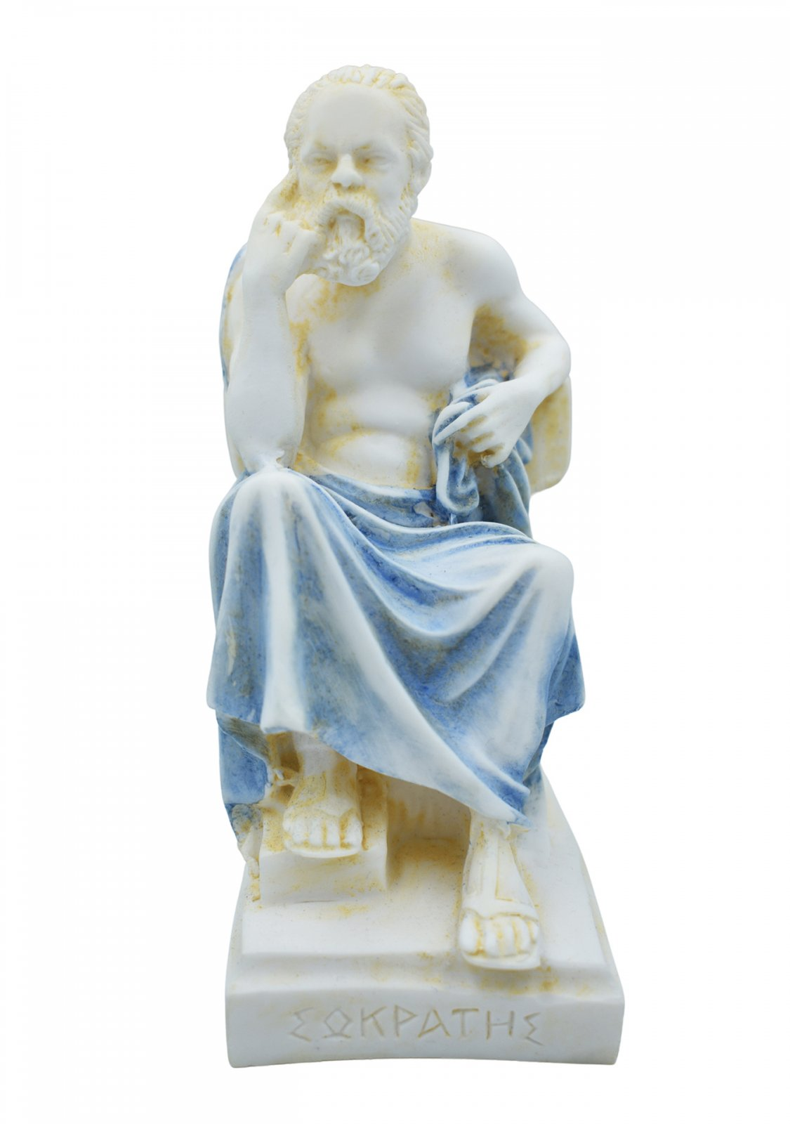 Socrates greek alabaster statue with color