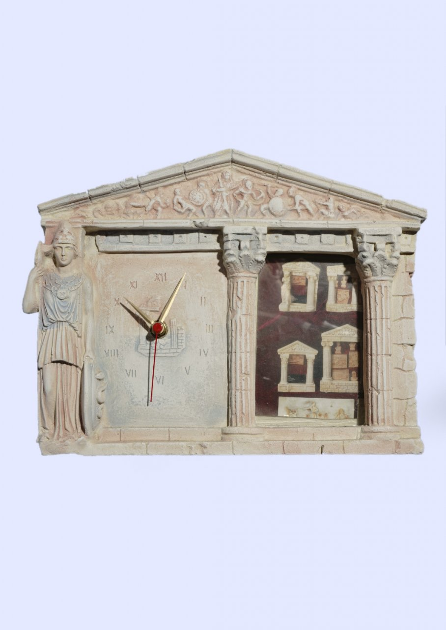 Greek picture frame and table clock with Athena goddess of wisdom