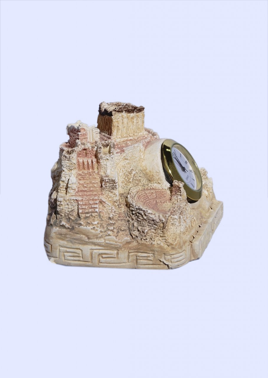 Plaster table clock depicting the rock of Acropolis in Athens